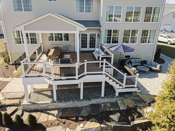 Deck cost per square foot is higher for more complex decks like this