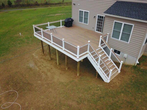 Raised deck with table and grill