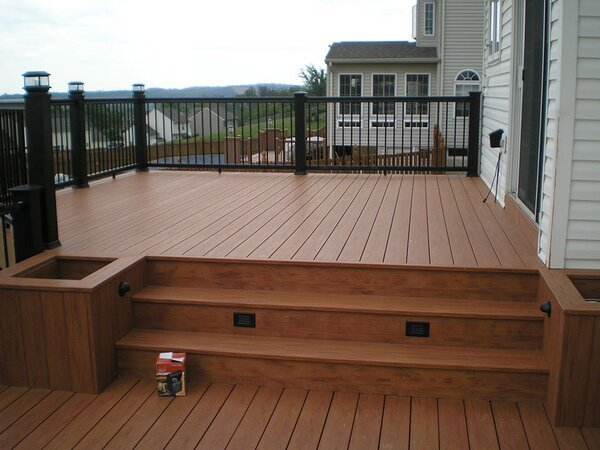 Deck with stairs and lights