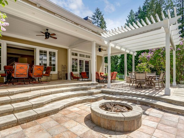 Outdoor living space with patio and pergola and fire pit