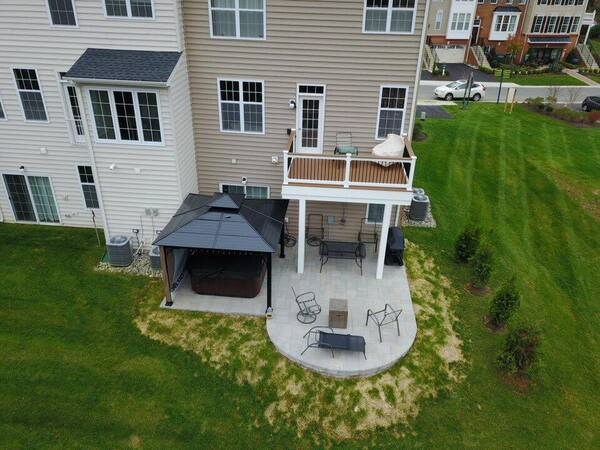 Small deck and patio and covered area
